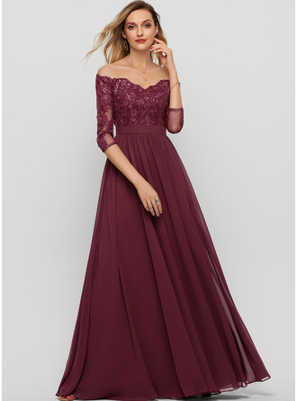 A-Line Off-the-Shoulder Floor-Length Chiffon Evening Dress With Sequins Split Front