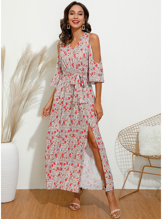 Maxi V neck Polyester Print/Slit 3/4 Sleeves/Cold Shoulder Sleeve Fashion Dresses