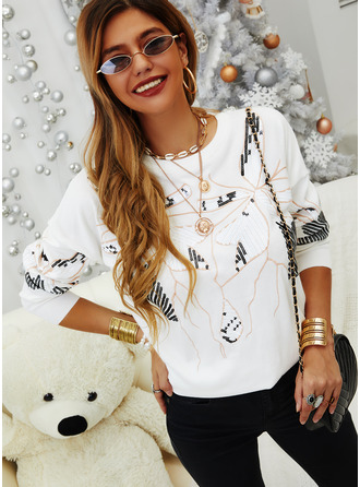 Sequins Round Neck Long Sleeves Casual T-shirt (1003255083)