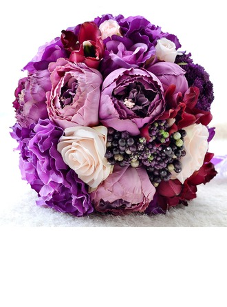 Purple Round Satin/Silk linen Bridal Bouquets/Bridesmaid Bouquets