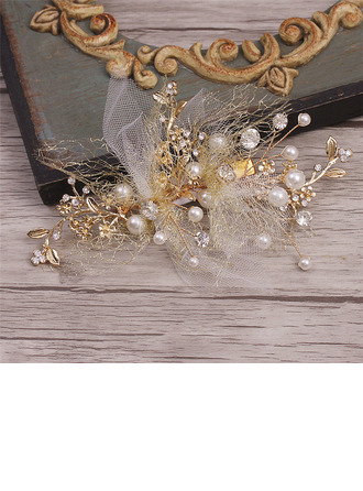Handmade Alloy/Voile Combs & Barrettes With Venetian Pearl (Set of 2)