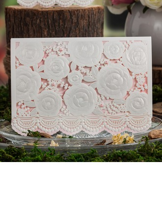 Floral Style Top Fold Invitation Cards With Beads