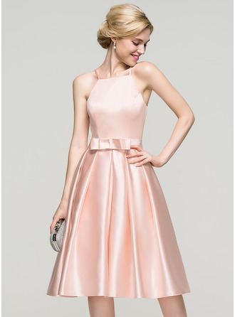 A-Line/Princess Square Neckline Knee-Length Satin Prom Dress With Bow(s)