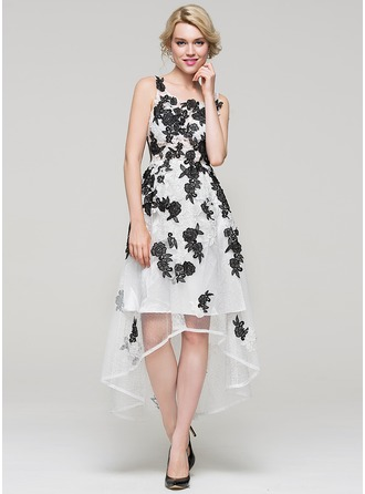 A-Line/Princess Square Neckline Asymmetrical Tulle Lace Homecoming Dress