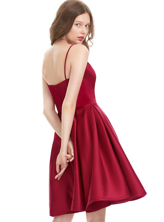 V-Neck Burgundy Satin Dresses