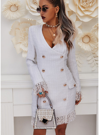 Solid Bodycon Long Sleeves Mini Elegant Dresses