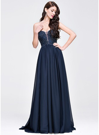 A-Line/Princess Sweetheart Sweep Train Chiffon Prom Dress With Beading