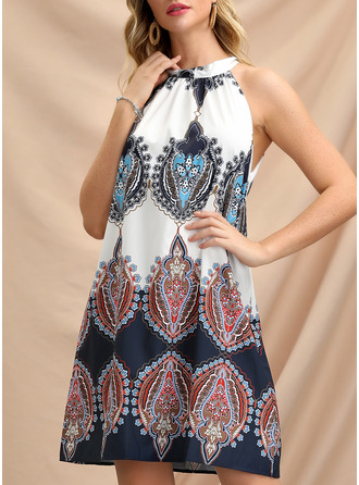 Print Shift Sleeveless Mini Casual Vacation Dresses