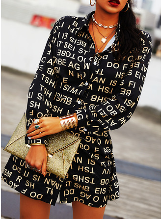 Print A-line Long Sleeves Mini Casual Shirt Dresses