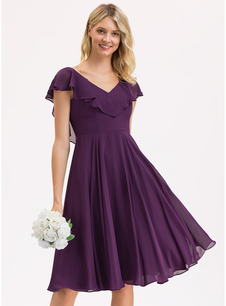 A-Line V-neck Knee-Length Chiffon Bridesmaid Dress With Cascading Ruffles