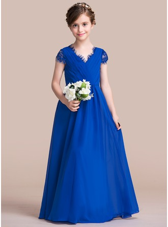 A-Line/Princess V-neck Floor-Length Chiffon Junior Bridesmaid Dress With Ruffle Lace Bow(s)