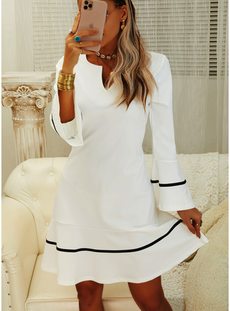 Print Sheath Flare Sleeve Long Sleeves Mini Party Elegant Dresses