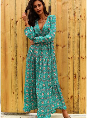 Floral Print Shift Long Sleeves Maxi Casual Vacation Dresses