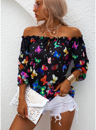 Animal Print Off the Shoulder Long Sleeves Casual Blouses