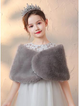 Faux Fur Wraps With Bow