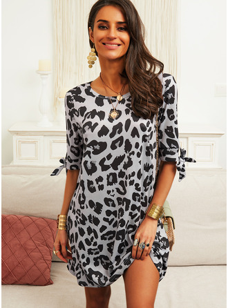 Leopard Shift 1/2 Sleeves Mini Casual Tunic Dresses