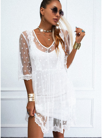 Lace Solid Shift 3/4 Sleeves Mini Casual Tunic Dresses