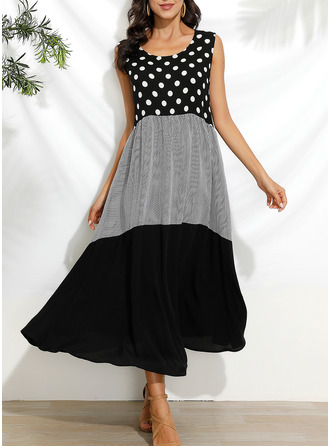 PolkaDot Print Shift Sleeveless Maxi Casual Vacation Tank Dresses