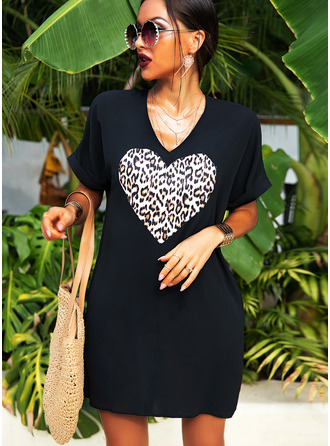 Leopard Print Shift Short Sleeves Midi Casual Dresses