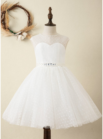 A-Line Knee-length Flower Girl Dress - Satin/Tulle Sleeveless Scoop Neck With Sash/Beading (Detachable sash)