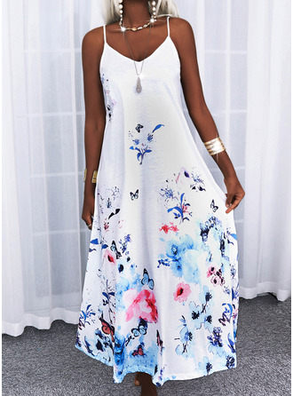 Animal Print Floral Shift Sleeveless Maxi Casual Vacation Type Dresses