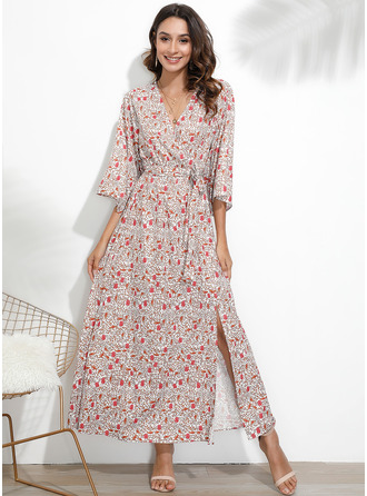 Floral Print A-line Long Sleeves Maxi Boho Casual Vacation Skater Dresses