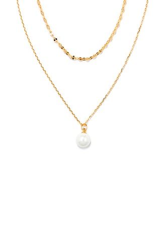 18k Gold Plated Silver Double Pearl Pendant Necklace - Christmas Gifts