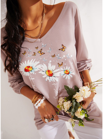 Figure Animal Print Floral V-Neck Long Sleeves Casual T-shirt