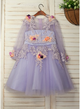 A-Line/Princess Knee-length Flower Girl Dress - Satin/Tulle/Lace 3/4 Sleeves Scoop Neck With Flower(s)