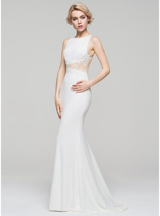 Trumpet/Mermaid Scoop Neck Sweep Train Jersey Prom Dress With Appliques Lace