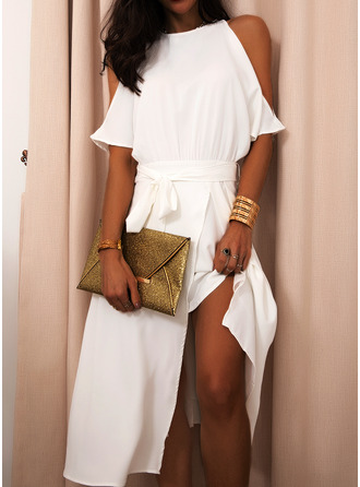 Solid Round Neck Cold Shoulder Sleeve Short Sleeves Midi Dresses