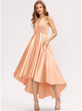 A-Line Scoop Neck Asymmetrical Satin Bridesmaid Dress With Pockets