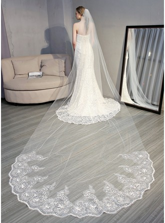 One-tier Lace Applique Edge Cathedral Bridal Veils With Sequin/Lace