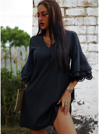 Lace Solid Shift 3/4 Sleeves Flare Sleeve Mini Casual Vacation Tunic Dresses