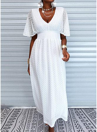 Lace Solid A-line 1/2 Sleeves Maxi Casual Vacation Skater Dresses