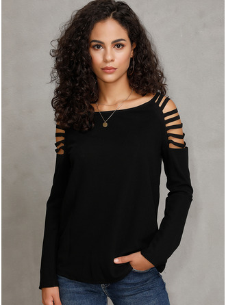 Solid Long Sleeves Polyester Round Neck T-shirt Blouses