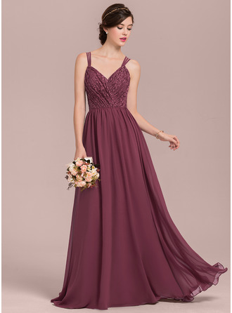 A-Line/Princess Sweetheart Floor-Length Chiffon Lace Bridesmaid Dress