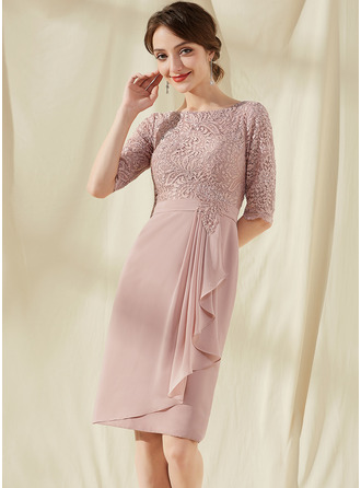 Sheath/Column Scoop Neck Knee-Length Chiffon Lace Cocktail Dress With Beading Cascading Ruffles