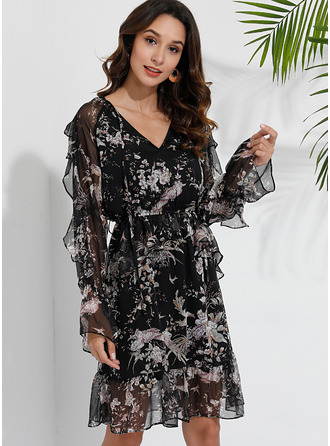 A-line Round Neck Polyester Dresses