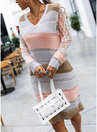 V-Neck Casual Long Tight Lace Color Block Sweaters