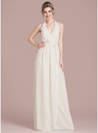 A-Line/Princess Halter Floor-Length Chiffon Evening Dress With Bow(s) Cascading Ruffles