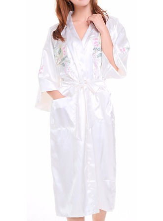 Bride Bridesmaid Silk With Knee-Length Kimono Robes