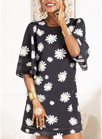 Floral Print Shift 3/4 Sleeves Mini Casual Tunic Dresses