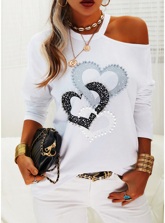 Print Heart One Shoulder Long Sleeves Casual Blouses