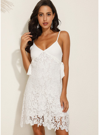 Above Knee Spaghetti Straps Polyester/Lace Lace/Solid Sleeveless Fashion Dresses