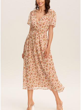 Floral Print A-line Short Sleeves Midi Boho Casual Vacation Skater Wrap Dresses