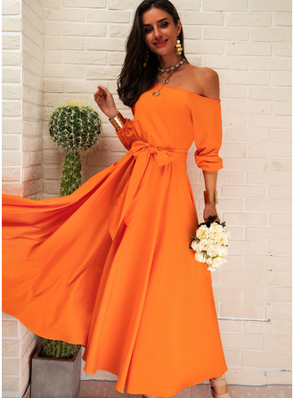 Solid A-line 1/2 Sleeves Puff Sleeves Midi Party Skater Dresses