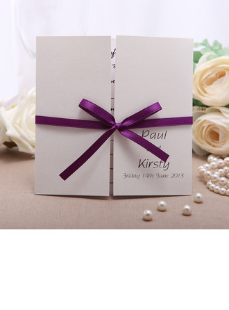 Personalizado Estilo Formal Puerta-Doble Invitation Cards con Cintas
