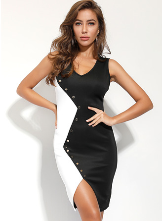 Knee Length V neck Polyester Button Sleeveless Fashion Dresses