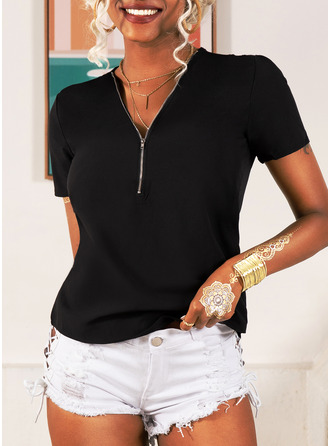 Solid Short Sleeves Polyester V Neck Knit Blouses